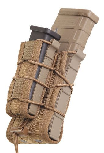 The Double Decker TACO® combines our modular rifle mag pouch and a modular pistol mag pouch into one secure unit. This unique pouch can securely hold an infinite combination of mags and other accessor