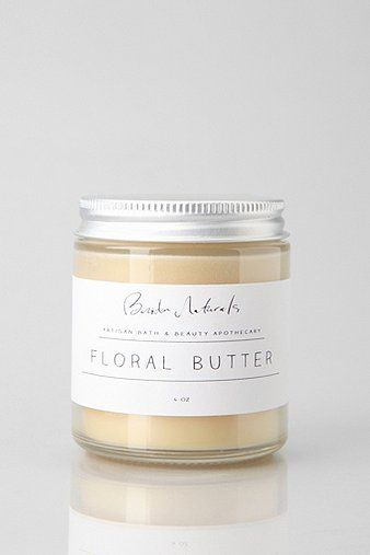 Beridan Naturals Floral Butter; branding and packaging minimal, combine with detailed floral