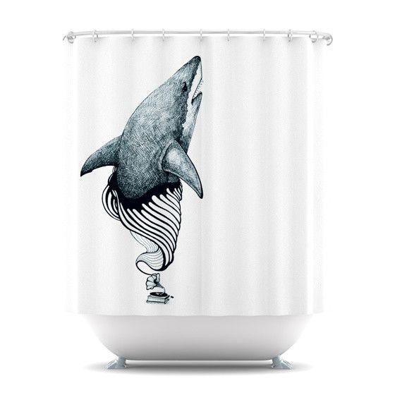 Graham curran quot shark record quot shower curtain