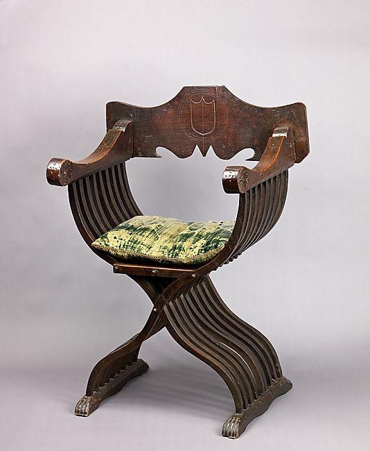 Savonarola Chair, Cushion and a Fragment. Italy 15th century