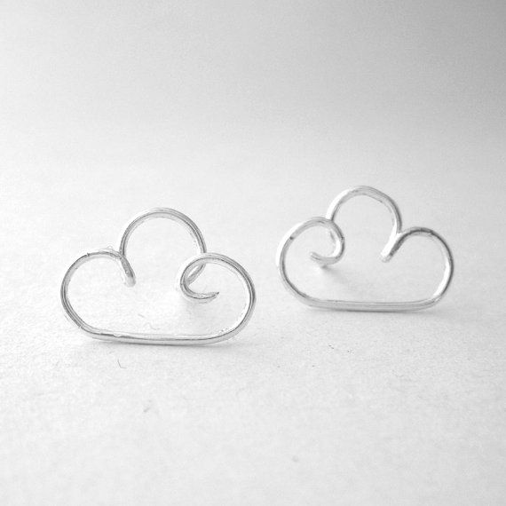 Silver Clouds Post Earrings - Wire Work Earrings, Studs, Wire Wrapped - 'Silver Lining' :D