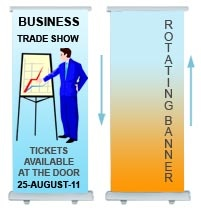 Rotating Banner Stands, Price starting from $350