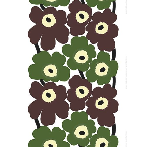 The organic shapes of Maija Isola's famous poppies take on earthy tones of spruce green and rich wooden brown on this lovely rendition; you can almost smell the fresh Finnish air. Marimekko Unikko Green / Brown Fabric