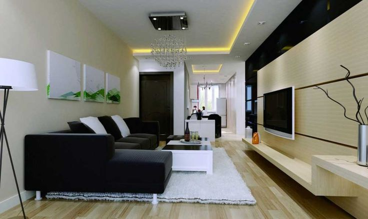 Rectangular Living Room Design Ideas with wooden floor and pastel color