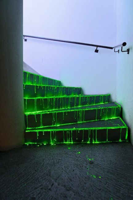 Glow sticks on the outdoor steps for Halloween night. They wash off