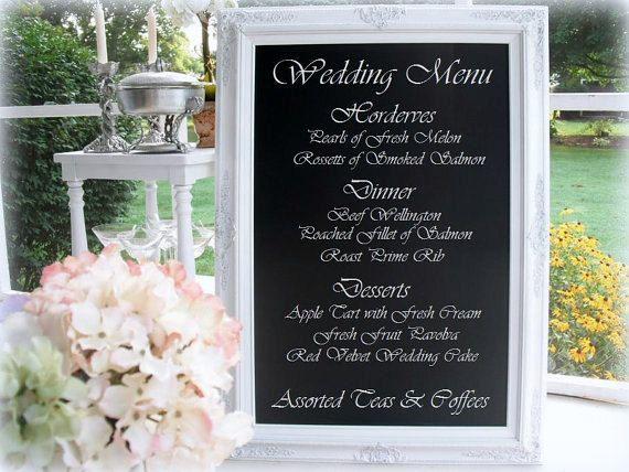 "WEDDING MENU BOARD Chalkboard - AtTTACHED StAND - X-Large Standing Chalkboard- 44""x32"" White Framed Unique Wedding Decor Menu Display Board"