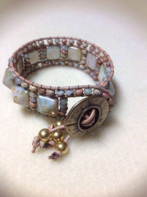 Leather beaded cuff style bracelet. Beaded by LaceWeaverDesigns