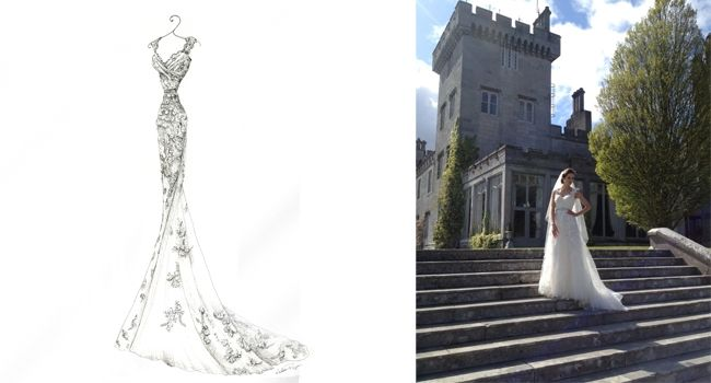 Dress for Justine – Pen | Pretty as a Picture. Gorgeous sketch of wedding dress by Ailbhe Ryan of Pretty as a Picture. #weddingdress #weddingdresssketch #beautifuldress #prettyasapicture #weddingdressportrait