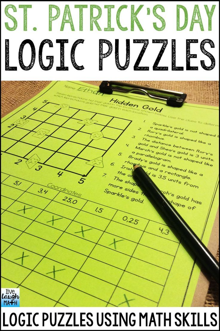 St. Patrick's Day Math Logic Puzzles for Enrichment and Critical Thinking- A great math challenge to differentiate for early finishers, gifted learners, and problem solvers!