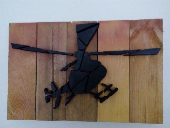 Helicopter - Wood Picture