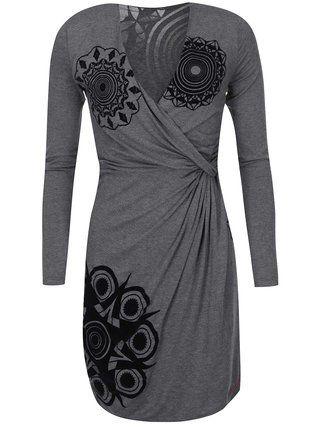 Desigual - Šedé šaty se vzorem  Celia - 1
