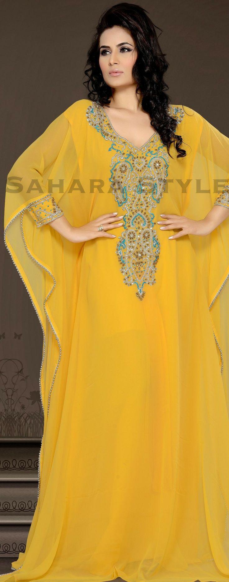 Yellow Kaftan - Arab Dubai Style Kaftan Farasha Jalabiya Abaya Sahara Style