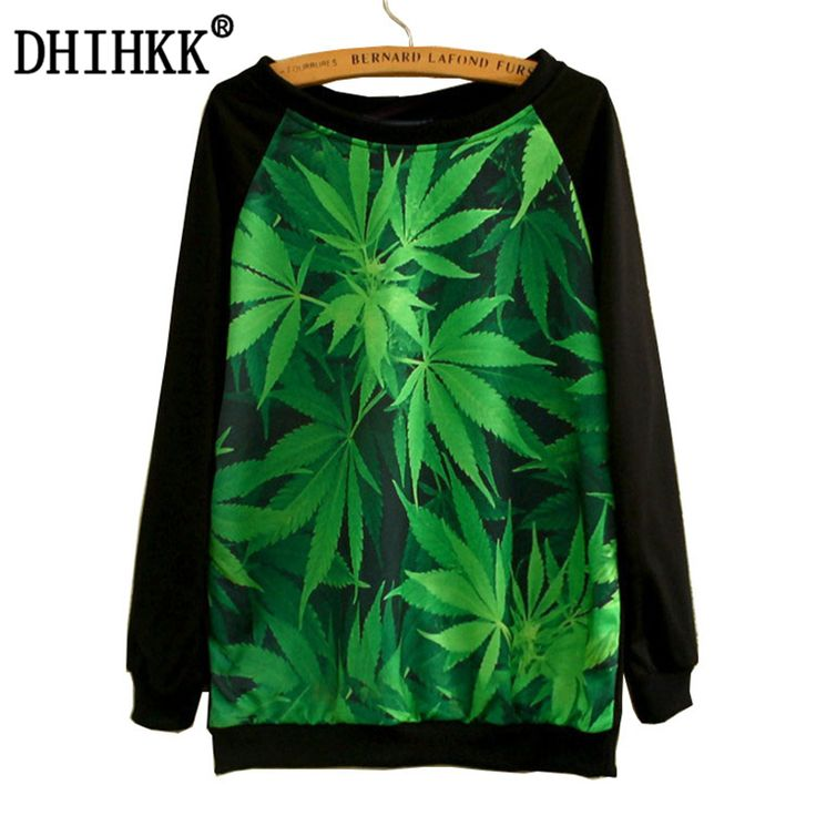 DHIHKK 2017 New Style Beautiful 3 D Green Leaves/Animal Printing Women Hoodies Thin Round Collar Women's Sweatshirts Tops #Affiliate