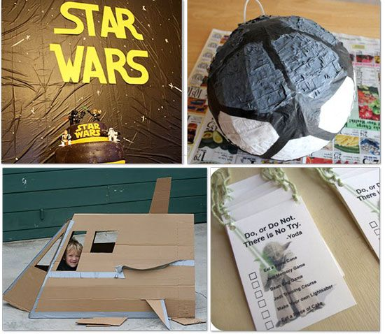 Star Wars party games - star wars pinatas are hard to come by so one idea is to get a soccer ball pinata and convert it into a death star pinata!