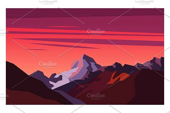 Sunset in the mountains by Kurokstas on @creativemarket