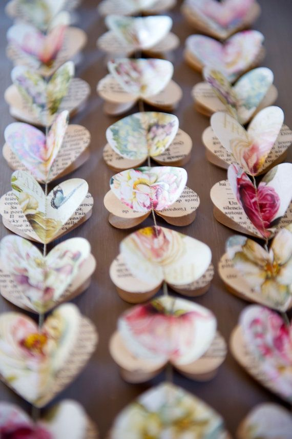 """Guirlandes de coeurs de papier, de pivoine et coeurs ROSES, guirlande en papier, guirlande de coeur, guirlande mariage nuptiales de douche, 40"""" garland"""