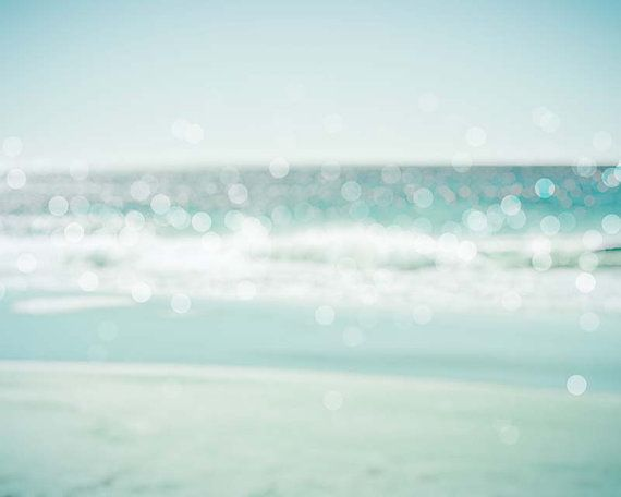 large photography print nautical decor abstract photography bokeh 8x10 24x36 30x45 fine art Photography beach large scale ocean pastel teal on Etsy, $25.00