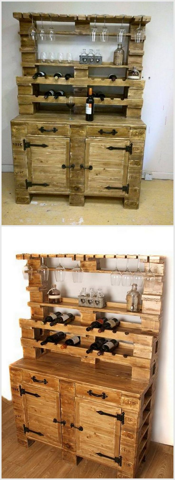 It is a very awesome pallet wood bar table in which you can put a significant number of pallet woods. If you love drinking a lot but do not know a way to store your bottles then it is for you. You can make it in any design but this design is quite spacious.