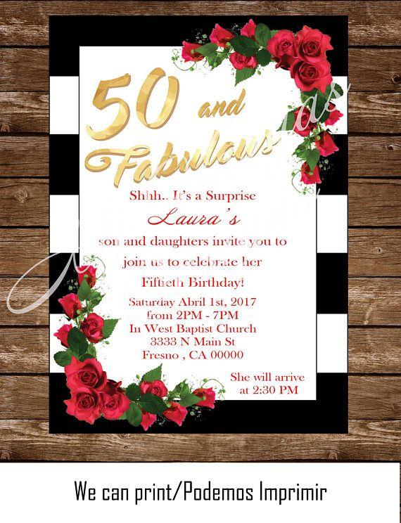 50 And Fabulous Surprise Birthday Printable Invitation