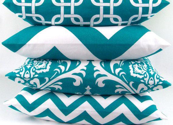 Turquoise Pillow cover 20x20 you pick fabric teal blue aqua geometric damask zigzag chevron chain throw cushion sham Premier Prints FREESHIP on Etsy, $22.00