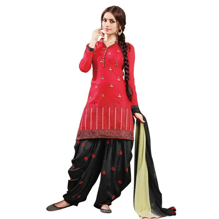 Lovely Red and Black Embroidered Dress Material with Dupatta On Smartdeals4u.com