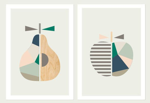 Apple and Pear prints limited edition of 50 as by LittleDesignHaus
