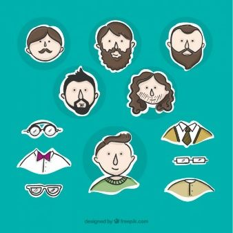 Collection of man avatar with element label