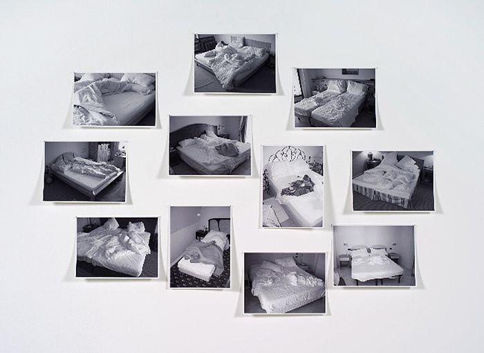 Hans-Peter Feldmann, Beds (Betten). 11 photographs mounted on board. 7 inches x 10.25 inches each.