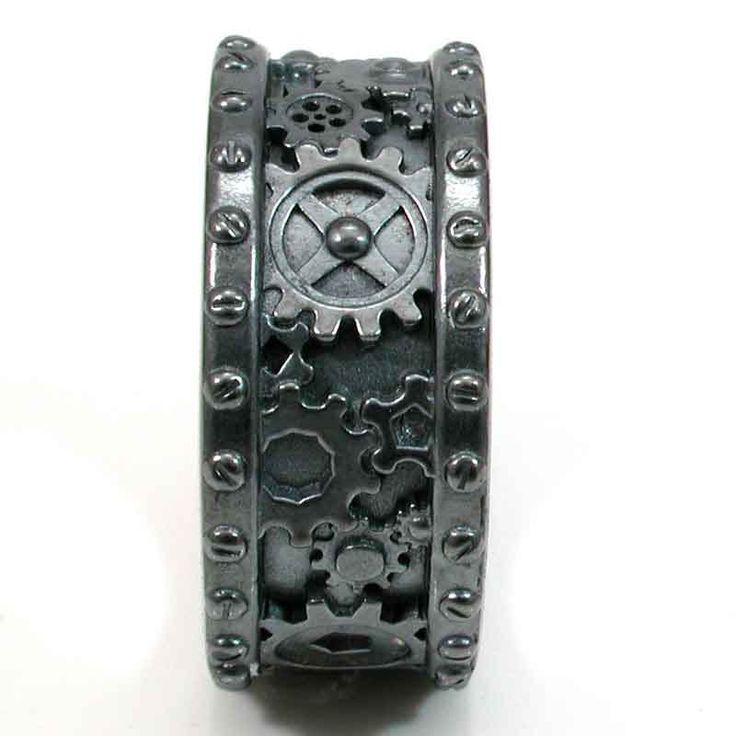 Steampunk Wedding Rings | Steampunk Black Silver Gear Ring - Steam punk Wedding Ring