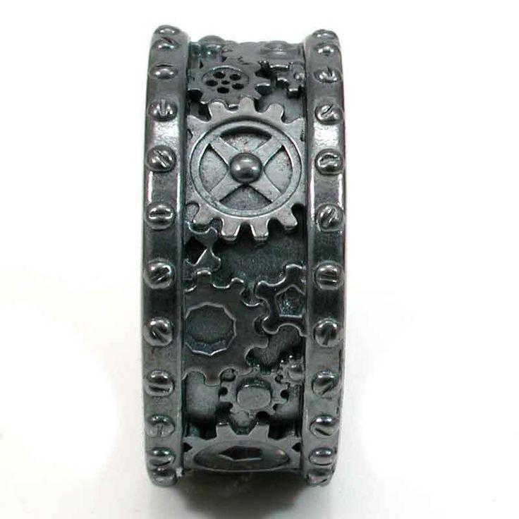 Gothic Steampunk Mens Black Silver Gear and Rivet Ring - Steam Punk - Handmade. $230.00, via Etsy.