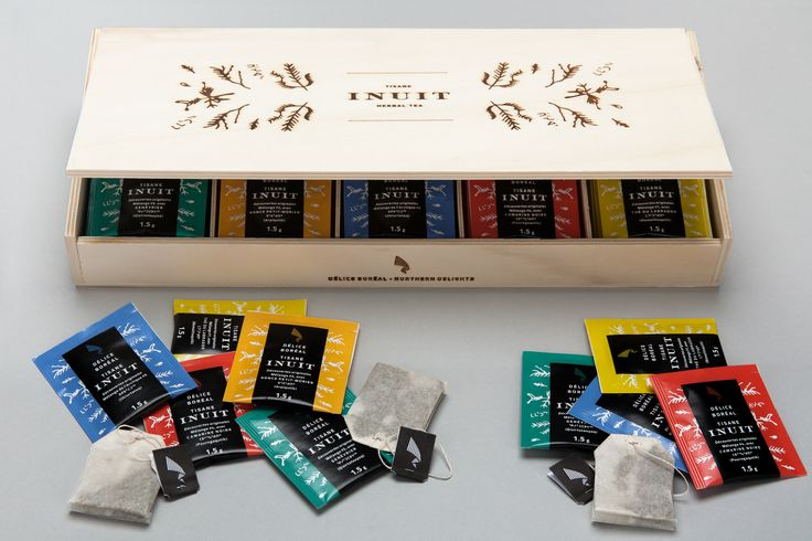 Délice Boréal Northern Delights Inuit herbal tea. Boîte cadeau en bois de luxe (80 sachets de saveurs assorties) Deluxe wooden gift box (80 assorted flavours tea bags)