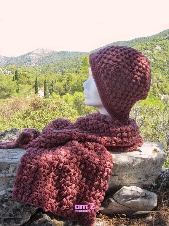 Crochet scarf and hat set Knit Scarf and hat by amZinspirations
