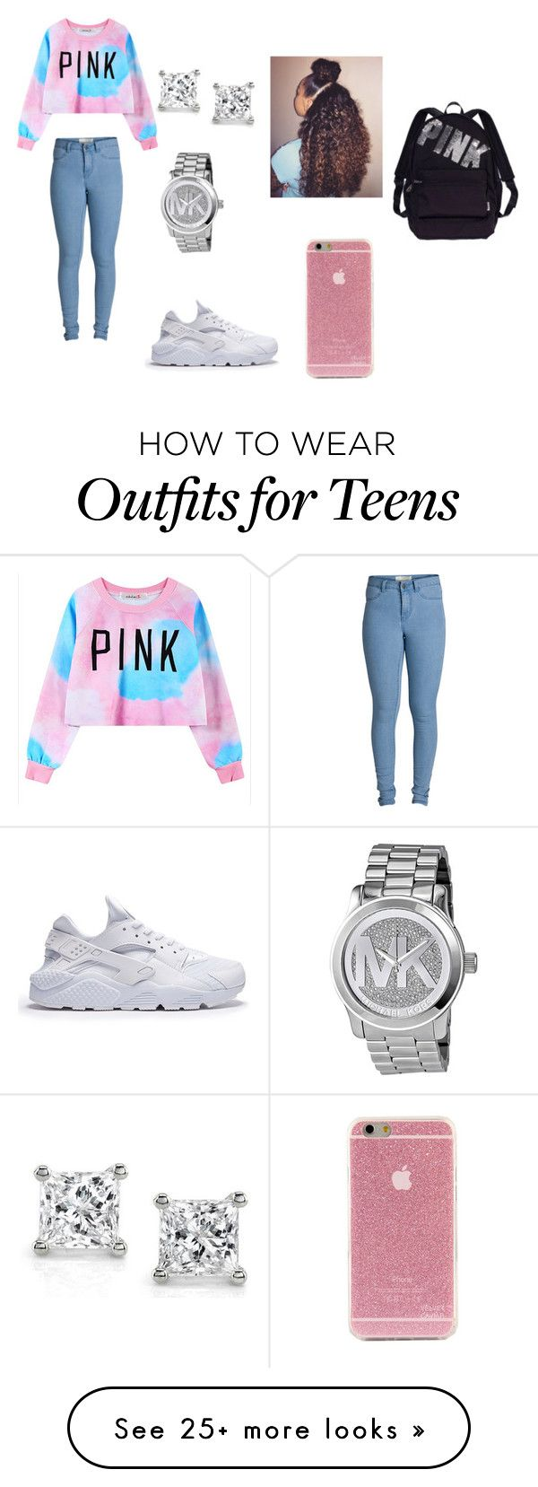 """""""teens only"""" by lordgirlky on Polyvore featuring Chicnova Fashion, Pieces, Michael Kors, Victoria's Secret, women's clothing, women's fashion, women, female, woman and misses"""
