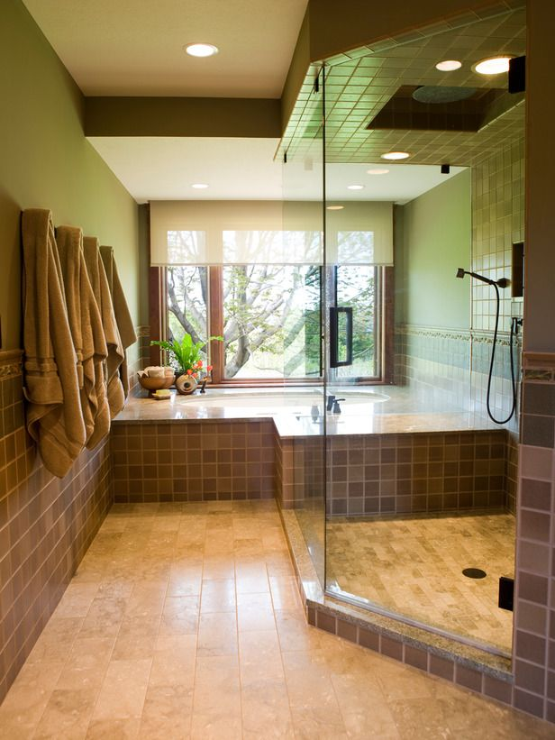 Contemporary | Bathrooms | Michael Habachy : Designer Portfolio : HGTV - Home & Garden Television Wet area w towels.  Color.