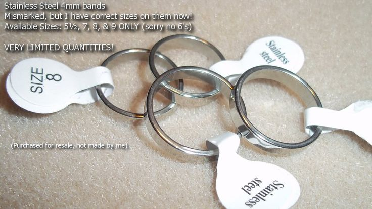Stainless Steel 4mm bands.  Their mis-sizing mistake is your gain! Correct sizes now: 5½, 7, 8 & 9 only. pic  ss $4 r24bnd  http://battlebeads.com/images/done/reg/ss/rings/r24bnd.jpg