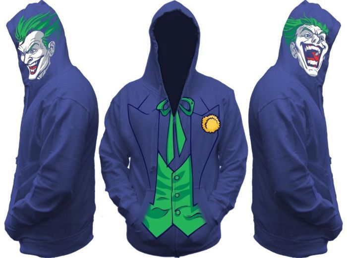 Dress in style like the Joker with this cool Batman Joker All View Zip Hoodie! Purple hoodie features a printed design based on the Joker's famous purple suit, plus the Joker's face on each side of the hood. Price: $39.99 – $50.49