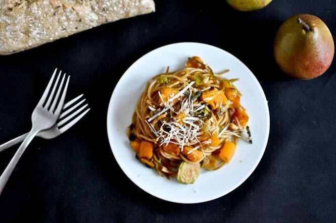 caramelized pear, squash & parmesan noodles. Using spaghetti squash for the noodles!