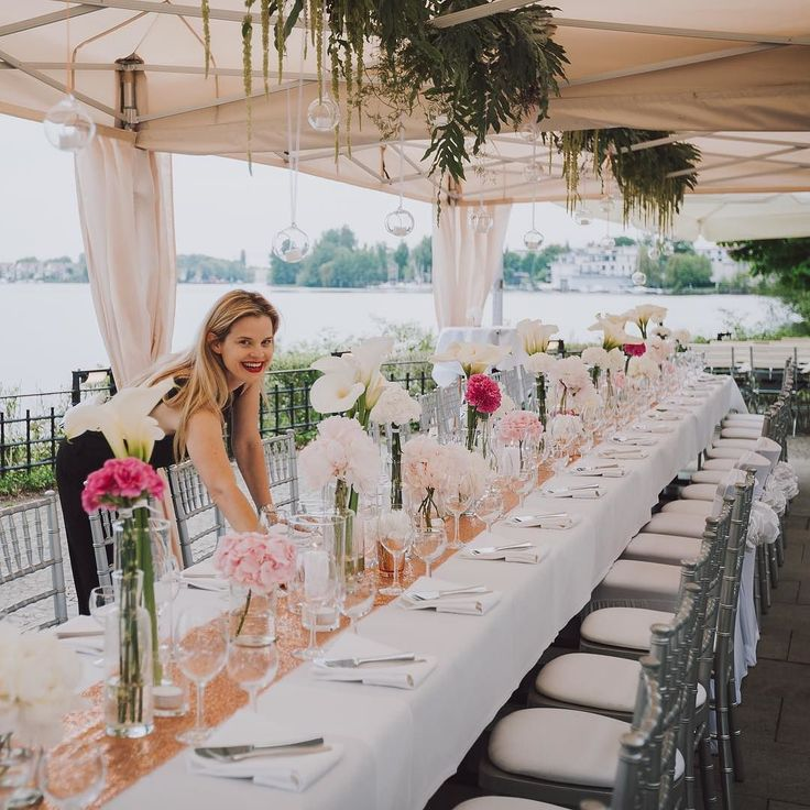 Final touches before our #bride and #groom and their guests are arriving for the reception at a beautiful ancient castle right on the water in #berlin We used #blush #white and #pink for flowers and decoration and the wonderful #silver #chiavari chairs from our partners in crime @weds4u and @horeisflorist