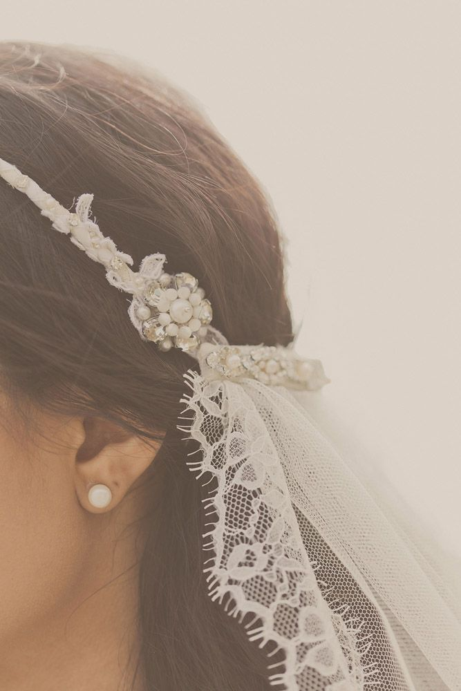 Bohemian Veil with delicate headband and veil attached in back