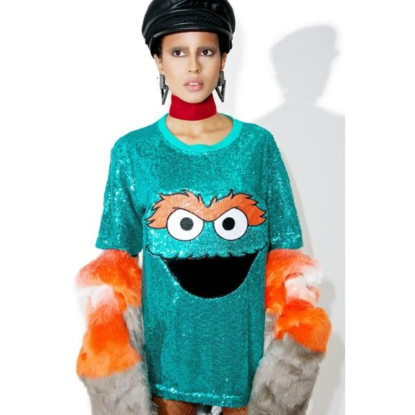 Oscar The Grouch Sequin Shirt ($32) ❤ liked on Polyvore featuring tops, shirt top, graphic shirts, slouchy tops, slouchy shirts and blue sequin shirt