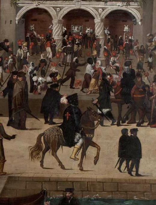Some Moors who had converted to Christianity in the Iberian peninsula in the 1500s also became prominent figures in society, as shown in the painting below that depicts a busy scene in Lisbon's Alfama harbor. The man mounted on a horse in the foreground appears to be of the highest social status of anyone in the scene. The red cross on his cape most likely represents membership in the Order of Santiago (St. James of the Sword), an Iberian military knighthood that dates to the 12th century…
