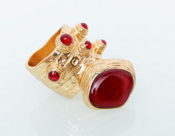 Кольцо YSL Yves Saint Laurent золото с  красным #19014