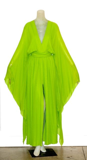 1970s Yves Saint Laurent Caftan Gown. Love the color, love the draping, love it all.