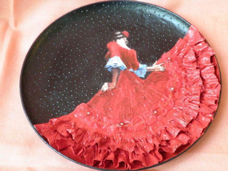 "Decoupage - Декупаж. Потрясающая тарелка ""Танцовщица Фламенко""."