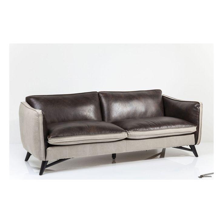 Fashionista Leather/Canvas 3-Seater Sofa • WOO Design