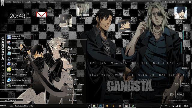 Anime Skin: Theme Windows 7 GANGSTA. ギャングスタ By Bashkara
