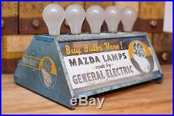 RARE Antique VTG 1940s Mazda Lamp GE Light Bulb Store Display Metal Sign AD OLD