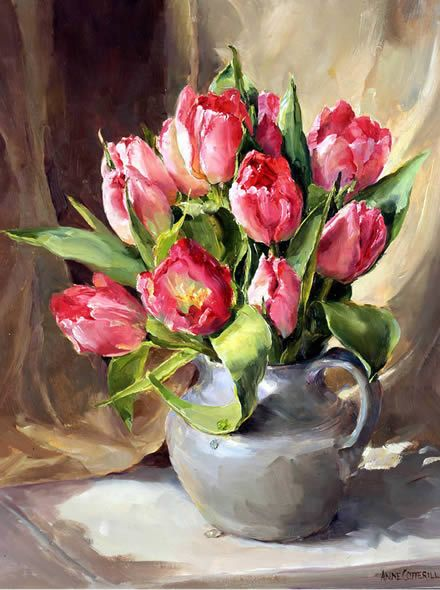 Still life oil painting of Pink Tulips in an earthenware jug by Anne Cotterill.    It can be purchased as a blank card or a birthday card.    (reproduction art greetings cards)
