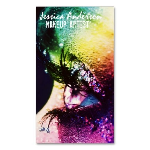 Rainbow Eyes Makeup Artist Business Card. This is a fully customizable business card and available on several paper types for your needs. You can upload your own image or use the image as is. Just click this template to get started!