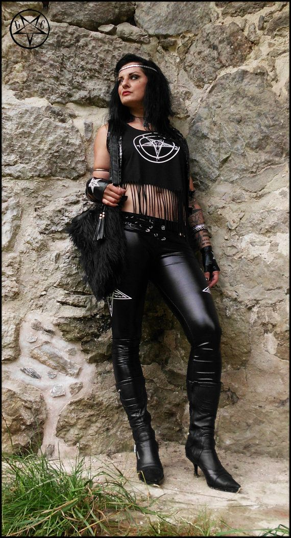 Pentagram Fringe Shirt Biker Gothic Heavy by DarkCreationsDesign